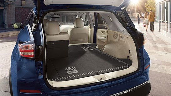 2018 Nissan Murano rear cargo space with seats folded down